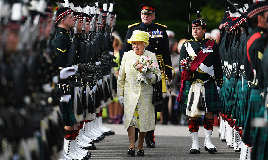 Queen Elizabeth inspected the guard during the traditional Ceremony of the Keys at Holyroodhouse on July 3 in Edinburgh, Scotland. 