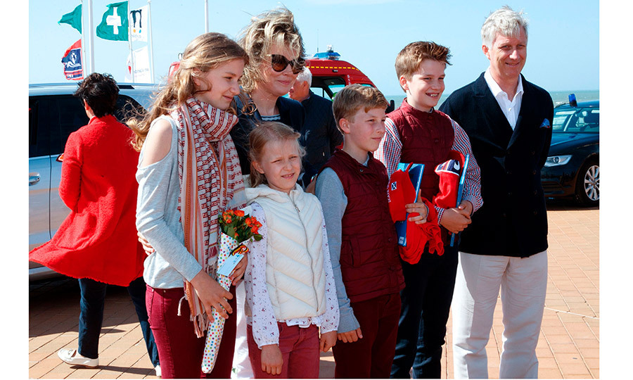 Belgium's King Philippe and Queen Mathilde were joined by their four children – Crown Princess Elisabeth, Princess Eleonore, Prince Emmanuel and Prince Gabriel, for a visit to the Belgian coast, in Westende, Middelkerke, on July 1.