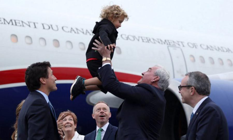 """Sir, you need to put me down."" Sophie and Justin brought Hadrien along for a trip to Ireland, where the little guy got a special welcome.