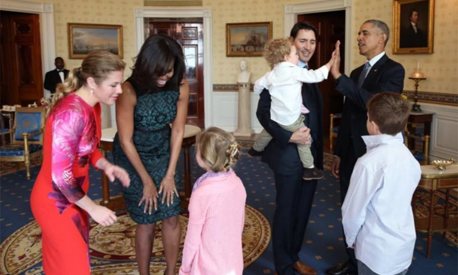 "Hadrien's seal of approval: a high five! All three of the Trudeau kids <a href=""https://www.todaysparent.com/blogs/sorry-justin-and-sophie-but-hadrien-is-the-coolest-trudeau/"">got to meet Barack and Michelle Obama</a> - but all eyes were on the adorable toddler.