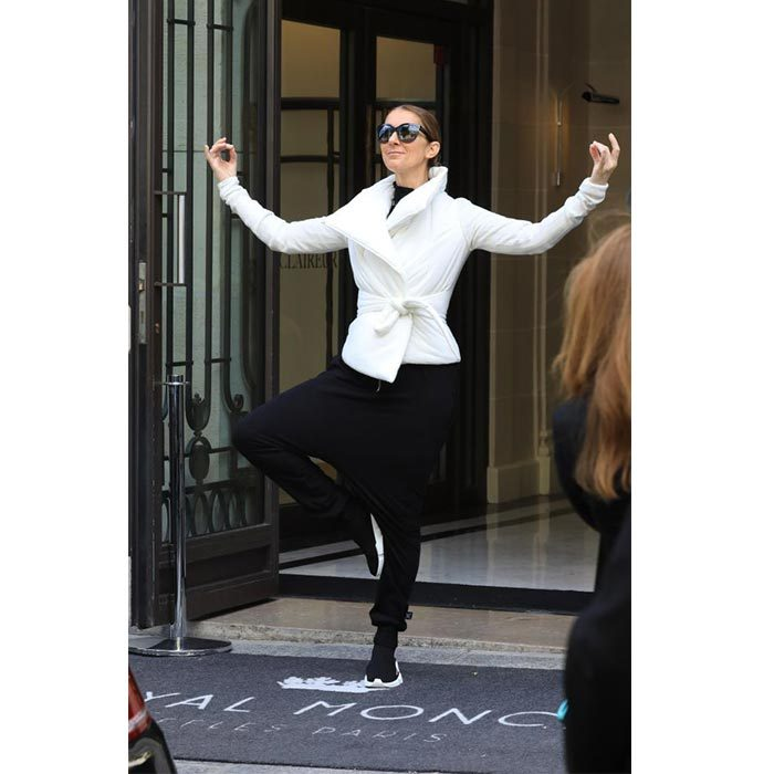 The fashion star looked totally comfortable and accepting of her new crown as she left her hotel in black harem pants, a white jacket and black running shoes. 
