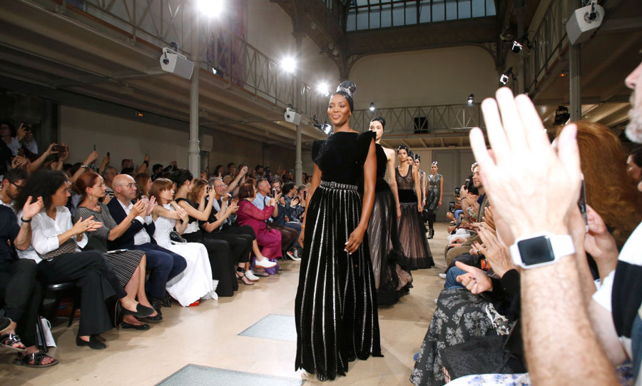 Naomi Campbell was the leader of the pack during the Azzedine Alaia show.