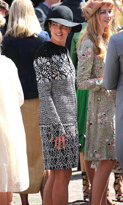 Princess Caroline's elder daughter Charlotte Casiraghi chose her go-to designer, Chanel, for the occasion.