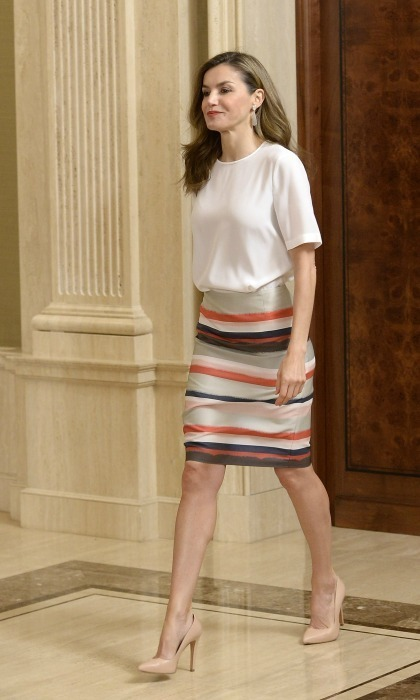 Queen Letizia turned the Zarzuela Palace into her own personal runway during a meeting with her husband King Felipe. 