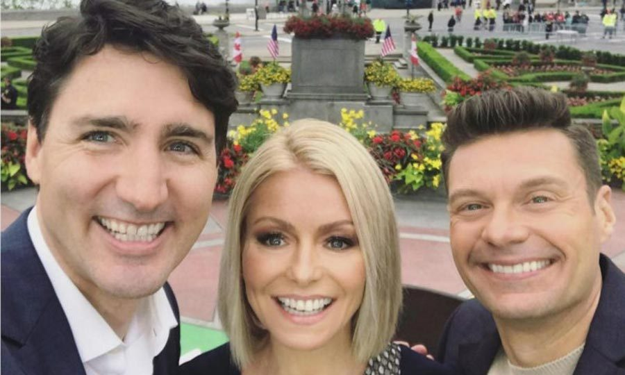 <p>Morning show hosts Kelly Ripa and Ryan Seacrest were smiling from ear to ear when Justin appeared on <i>Live with Kelly and Ryan</i> in Niagara Falls in June 2017.