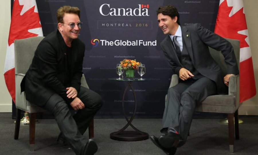 <p>Even Bono couldn't contain his excitement when he met Justin at a conference in Montreal for the Global Fund in September 2016. The feeling was definitely mutual as Justin showed off his mega-watt smile when he sat down to talk with the U2 frontman. 