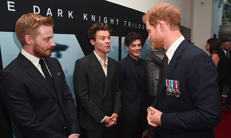 On July 13, 2017, fans of Prince Harry and Harry Styles had double the excitement when the two met at the Dunkirk world premiere at Odeon Leicester Square in London. Also on hand for the meet-and-greet were One Direction heartthrob Harry's co-stars in the film, Jack Lowden and Aneurin Barnard.