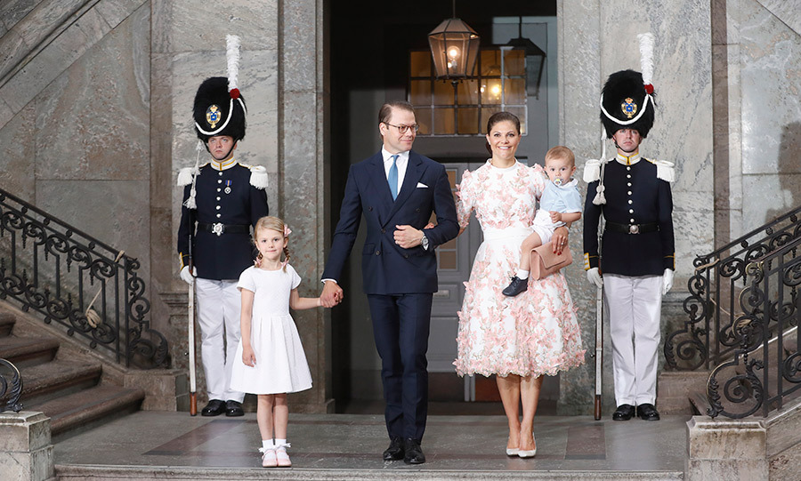 Crown Princess Victoria of Sweden, Prince Oscar of Sweden, Princess Estelle of Sweden and Prince Daniel of Sweden depart after a thanksgiving service on the occasion of The Crown Princess Victoria of Sweden's 40th birthday celebrations at the Royal Palace.