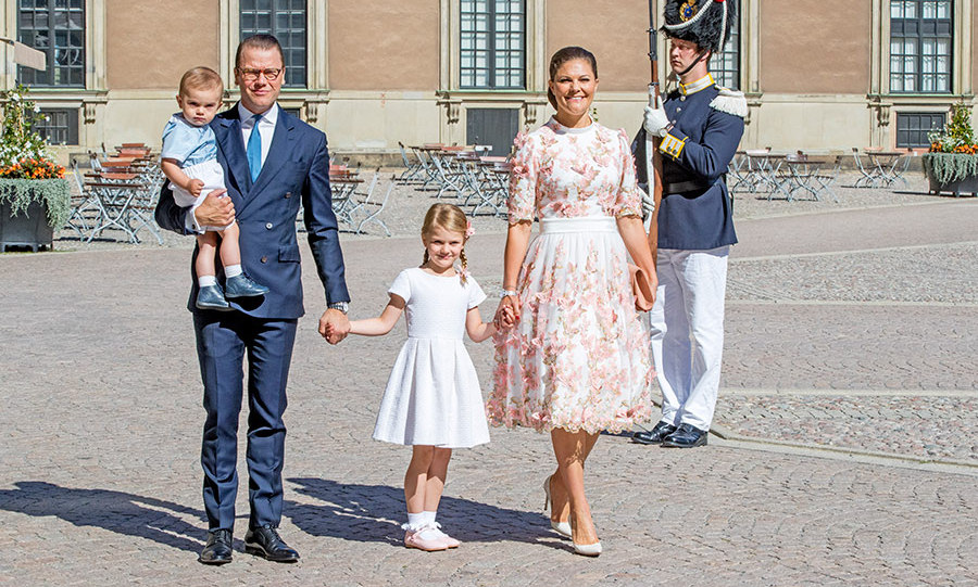Crown Princess Victoria, Prince Daniel, Princess Estelle and Prince Oscar arrive for a thanksgiving service on the occasion of The Crown Princess Victoria of Sweden's 40th birthday celebrations at the Royal Palace.