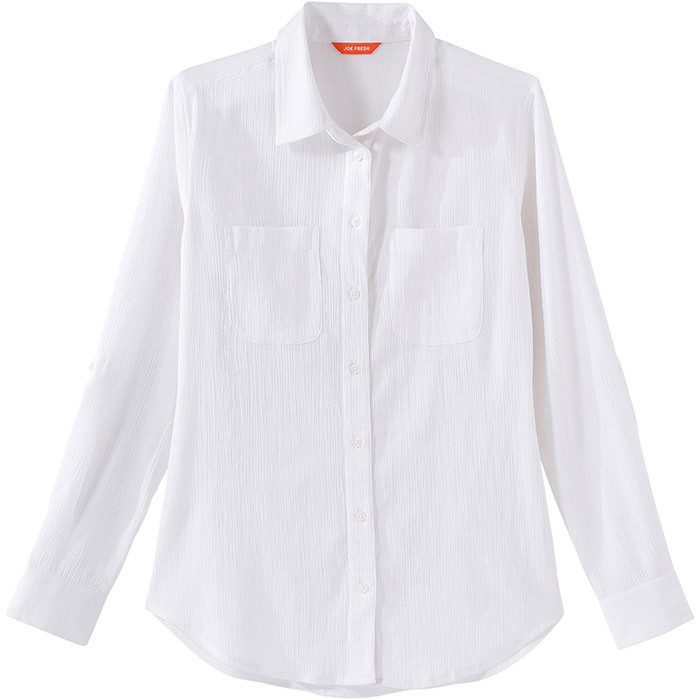 <p><strong>Crinkle Weekend Shirt in White</strong>, $29, <em>joefresh.com</em></p>