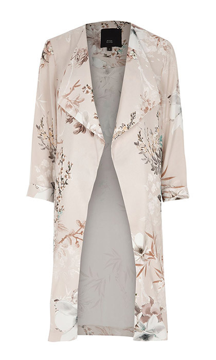 <p><strong>Grey Floral Print Side Split Duster Coat</strong>, $167, <em>riverisland.com</em></p>