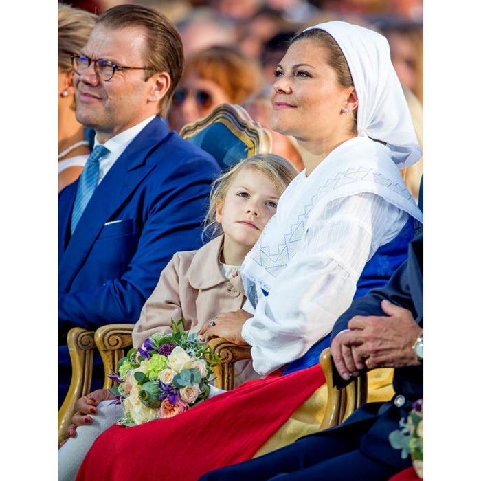 Princess Estelle stuck by her mom during one of the several celebrations in her honour in Borgholm, Sweden.