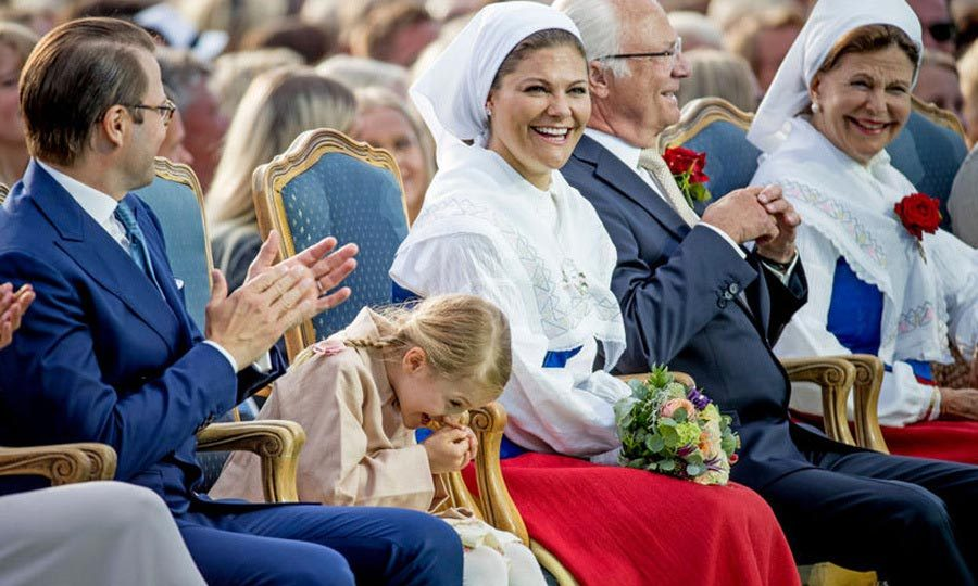 Clearly something was so funny, Princess Estelle chuckled into her hand during the festivity.