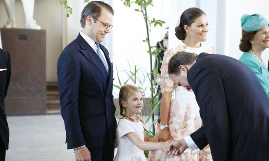 Princess Estelle greeted Sweden's prime minister during her mom's birthday.