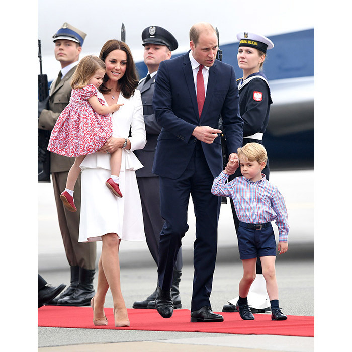 Prince William, Kate, Prince George and Princess Charlotte arrive in Poland for their royal tour of Poland and Germany.