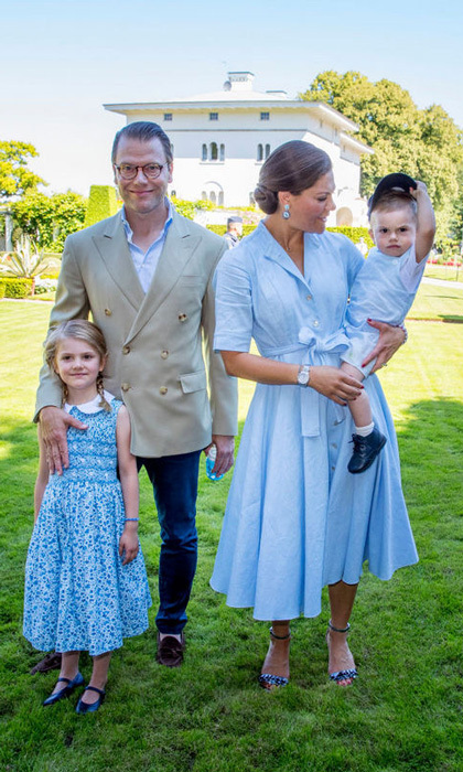 The future Queen gathered with her husband Prince Daniel and kids Princess Estelle and Prince Oscar, who tipped his hat to his mom, during her celebration.