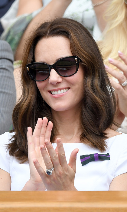 Kate attends the Wimbledon men's singles final. 