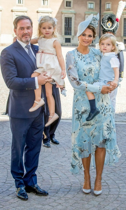 Princess Madeleine of Sweden was a vision in blue as she stepped out for her sister, Crown Princess Victoria's 40th birthday celebration. Madeleine was accompanied by her husband Chris O'Neill and their two children Princess Leonore and Prince Nicolas.