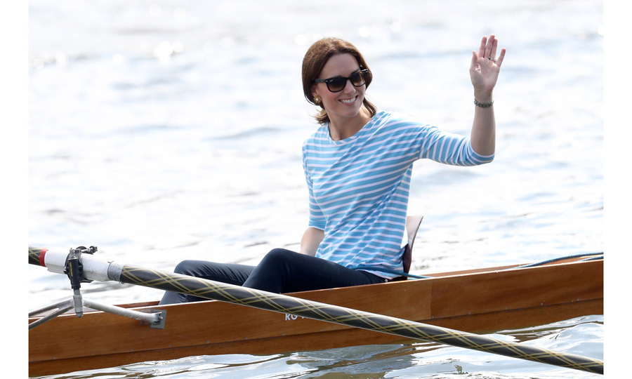 Kate faced-off in a boat race against her husband Prince William during the royal tour of Poland and Germany in July 2017. Despite losing, the duchess was all smiles as she enjoyed her time on the water.  