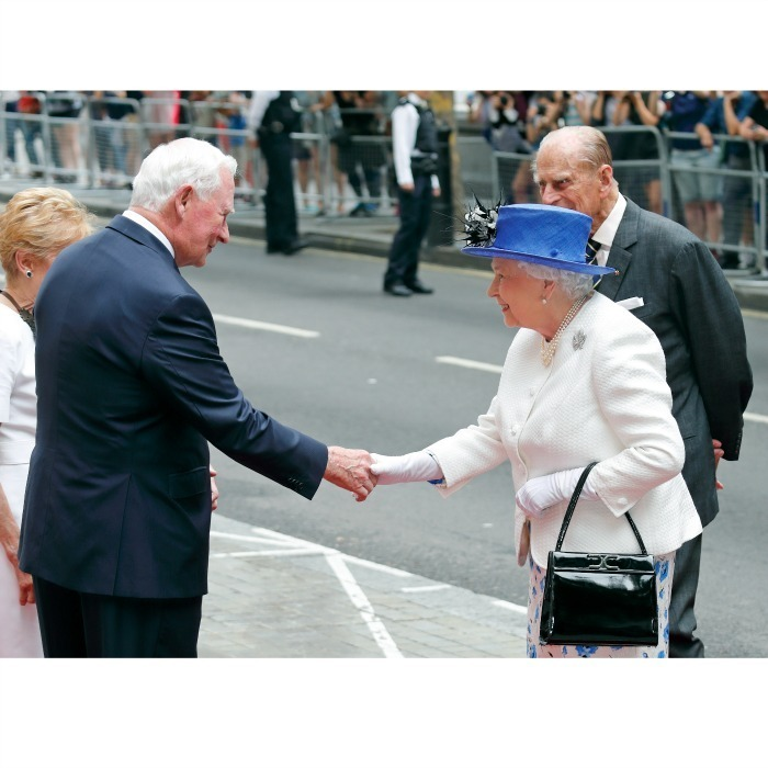 The Queen was all smiles as she greeted the Governor General of Canada David Johnston during her visit to Canada House to celebrate the county's 150th anniversary.