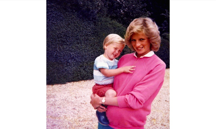 The brothers shared this sweet snap of a young Prince William posing with his mother, Princess Diana.