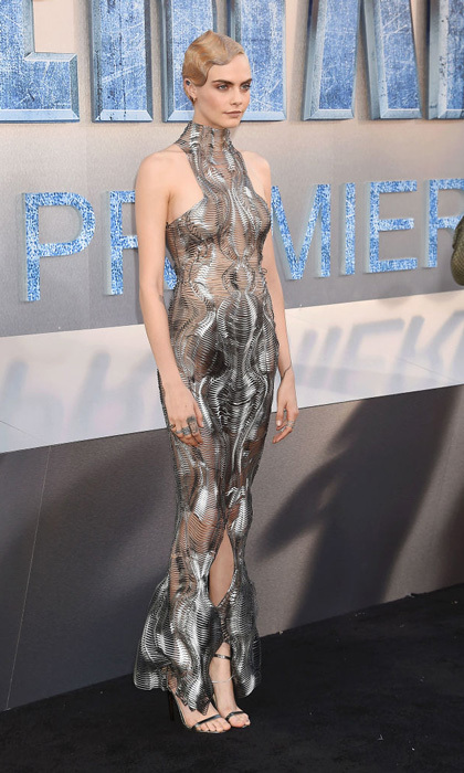 Cara Delevingne looked futuristic donning an Iris van Herpen fishtail gown, while sporting striking blonde finger waves at the Hollywood premiere of Valerian and the City of a Thousand Planets on July 17.