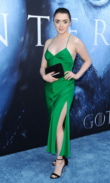Maisie Williams made everyone green with envy in her satin dress during the Game of Thrones premiere.
