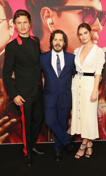 Ansel Elgort, Edgar Wright and Lily James made a sharp trio at the Baby Driver Australian premiere in Sydney on July 12.