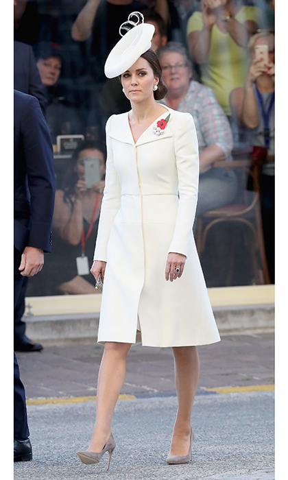 The Duchess of Cambridge arrived for her Belgian visit wearing the Alexander McQueen coat dress she wore to Princess Charlotte's christening. 