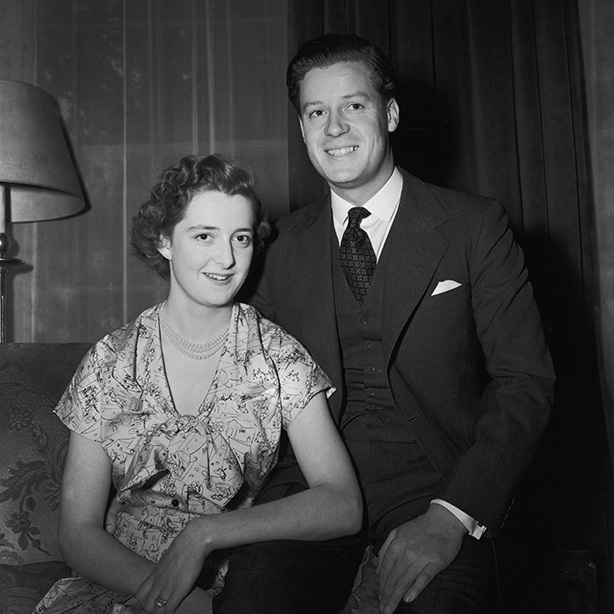 Viscount Althorp, son of the Earl and Countess Spencer, with his fiancee, eighteen year old Hon. <strong>Frances Roche</strong>, daughter of Lord and Lady Fermoy, on the day before their wedding in 1954.