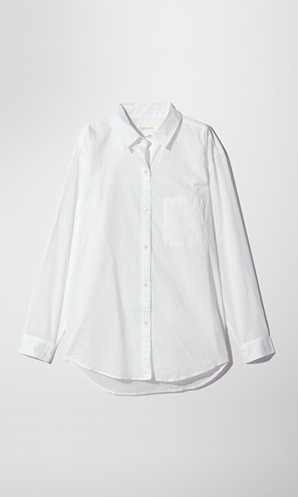 <p><strong>Community Veritas Shirt in White</strong>, $85, <em>aritzia.com</em></p>
