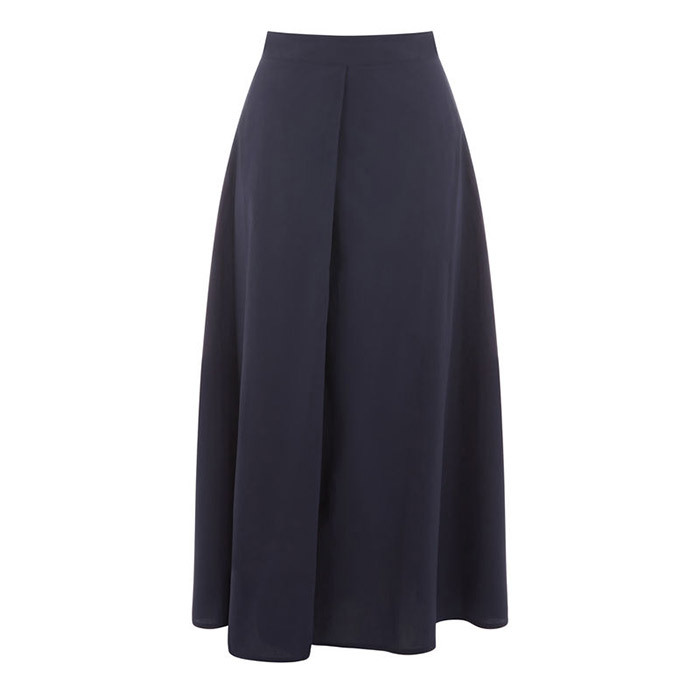 <p><strong>Lores Full Cotton Midi Skirt in Navy</strong>, $52, <em>warehouse.co.uk </em></p>