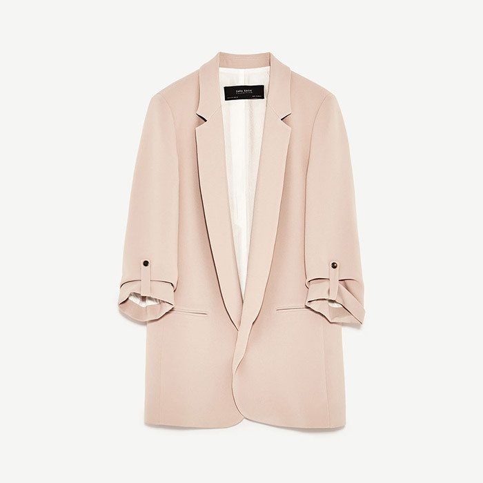 <p><strong>Long Blazer in Nude Pink</strong>, $70, <em>zara.com</em></p>