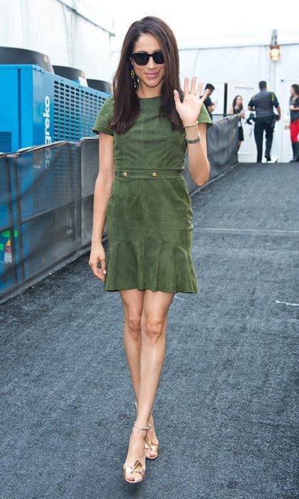 Another soft suede look – this time a minidress in military green.