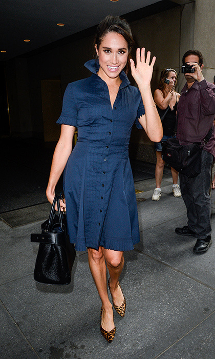 The star donned a navy shirtdress for an appearance on the Today Show, adding a signature twist with leopard print heels. 