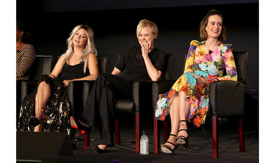 Fans of <em>American Horror Story: Cult</em> got a hint of the upcoming season with this lively onstage trio – Billie Lourd, Alison Pill, and Sarah Paulson – during the FX portion of the 2017 Summer Television Critics Association Press Tour at Fox Studios on August 9 in L.A. 