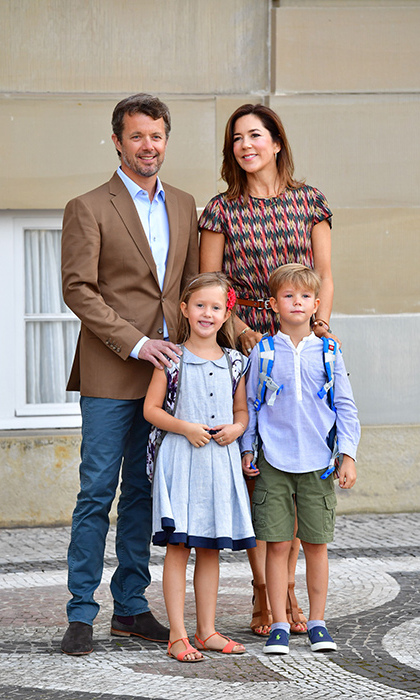 The Danish royal twins posed with their proud parents Prince Frederik and Princess Mary. 