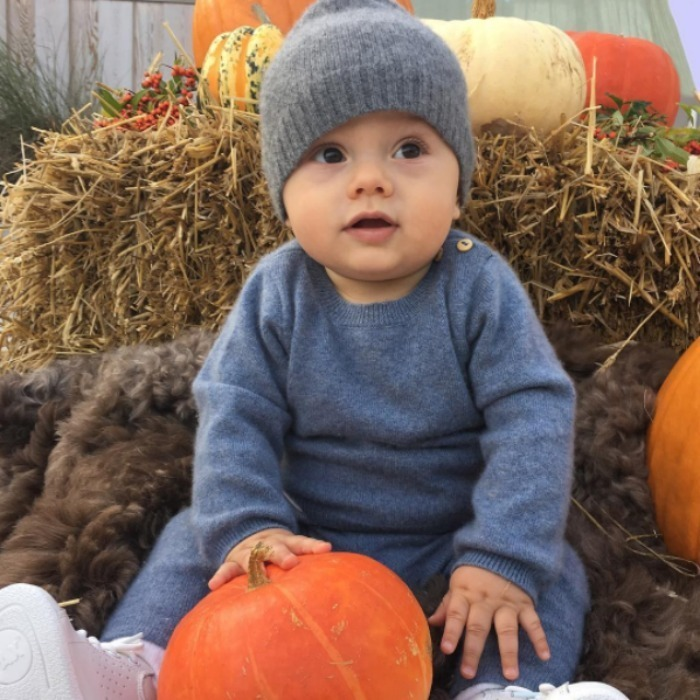 Crown Princess Victoria of Sweden couldn't resist taking a picture of her son Prince Oscar being adorable with pumpkins at the Solliden and Öland Harvest Festival.