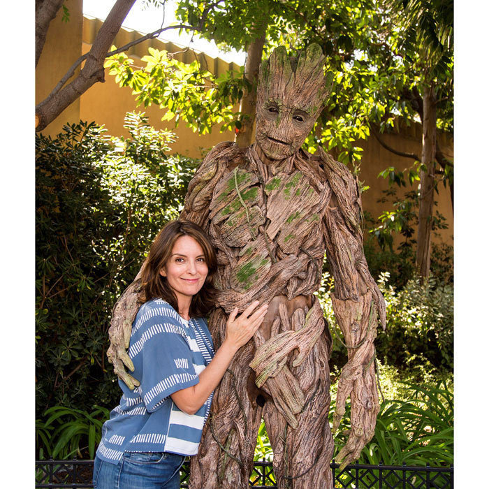 Tina Fey met <em>Guardians of the Galaxy</em> star Groot outside of the Guardians of The Galaxy - Mission: Breakout attraction at Disney California Adventure on Aug 13.
