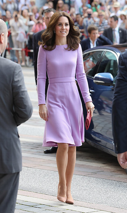 <p>Kate in a lilac A-line dress, as seen in Germany in July.</p>