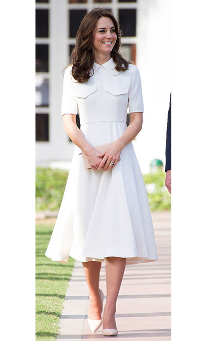 <p>Kate in a cream midi dress on the 2016 royal tour of India.</p>