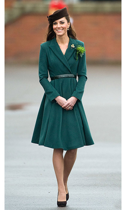 <p>Kate in the St. Patrick's Day emerald-green coat dress that put Emilia on the map in 2012.</p>