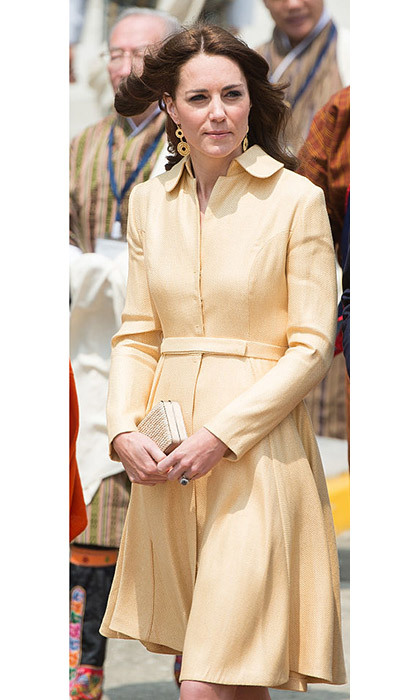 <p>Kate in a bespoke butter-yellow dress worn in Scotland in 2012.</p>
