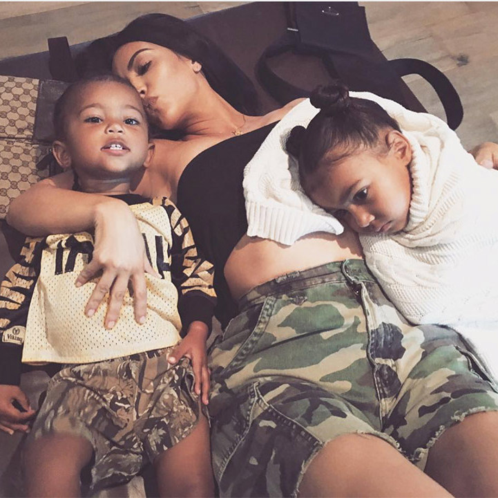 <h4>Kim Kardashian, North and Saint West</h4>