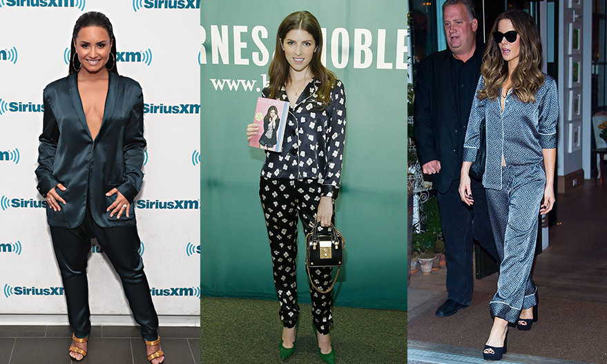 Three's a trend! Anna Kendrick, center, joined the PJ brigade in a bed-ready ensemble by Fleur du Mal as she signed copies of her book Scrappy Little Nobody at Barnes & Noble Union Square on August 19, 2017 in New York City. The pajama look has also been spotted on Demi Lovato – left, in Baja East – and Kate Beckinsale, right, this month. 