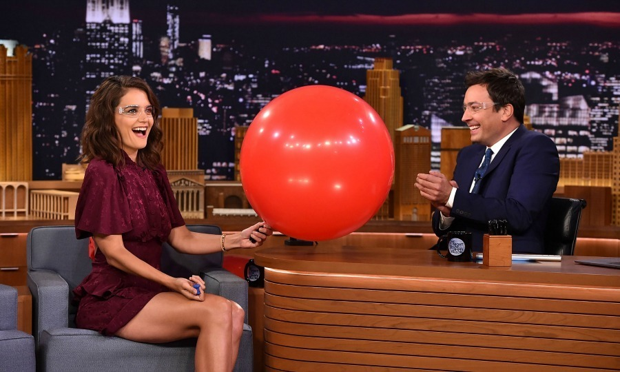 "Katie Holmes – who wore a Mayle dress – stopped by The Tonight Show with Jimmy Fallon and had some fun with balloons. The Logan Lucky actress opened up about fighting with her co-star Channing Tatum saying, ""We worked together before and we played a married couple who were fighting all the time and in this movie we're ex's and fighting. I'm like, can we do something where we are not fighting.""