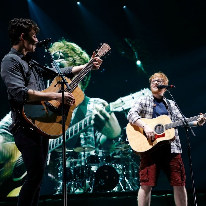 Swoon! Shawn Mendes was joined by Ed Sheeran for a performance of his smash hit Mercy during the Brooklyn, NY stop of his Illuminate tour.