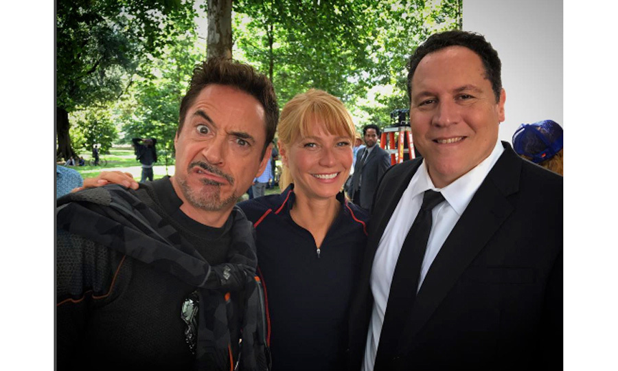 "Infinity trinity! Robert Downey Jr. posed with co-stars Gwyneth Paltrow and Jon Favreau on the set of Avengers Infinity War on August 22. Robert – who plays Iron Man in the Marvel franchise – captioned the photo: ""Infinity Trinity ... #infinitywar and street cred @jimmy_rich represent @marvelstudiosand @therealstanlee ...""