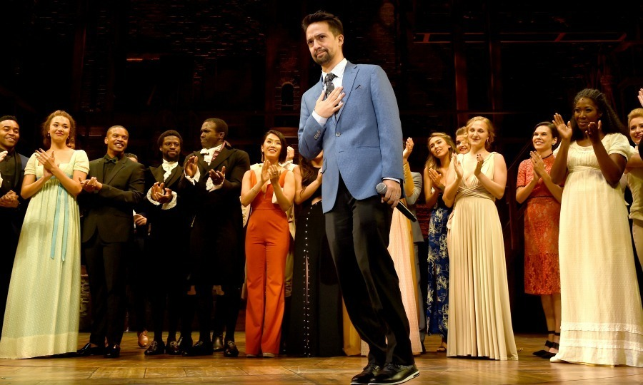 Lin-Manuel Miranda also known as Alexander Hamilton received a round of applause by audience members and the cast of Hamilton, during the show's first night at the Pantages Theatre on August 16 in L.A. 