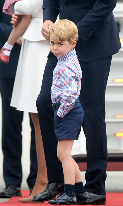 Prince George pictured on his tour of Poland and Germany earlier this summer.
